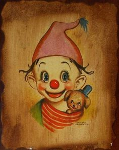 illustration de dianne dengel - Page 4 Clown Mignon, Image Halloween, Halloween Makeup Clown, Pierrot Clown, Clown Paintings, Clown Tattoo, Cute Clown, Send In The Clowns, Clown Faces
