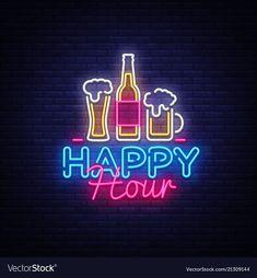 Happy hour neon sign happy hour design vector image on VectorStock Neon Bar Signs, Led Neon Signs, Neon Light Signs, Pool Signs, Neon Design, Graphic Design, Flag Design, Neon Licht, Best Happy Hour