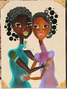 Hey, I found this really awesome Etsy listing at http://www.etsy.com/listing/129300572/original-black-art-on-wood-sisters
