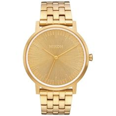 Nixon The Porter Bracelet Watch, 40Mm ($175) ❤ liked on Polyvore featuring jewelry, watches, dial watches, metal jewelry, nixon jewelry, watch bracelet and metal watches