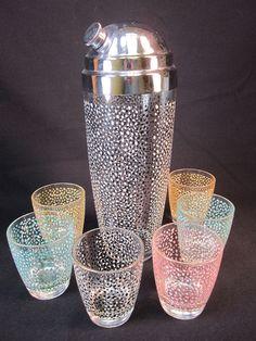FAB 1950s Retro Mid-Century Modern Cocktal Set Shaker Glasses Polka Dot Party!