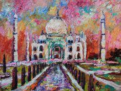 Taj Mahal India Beautiful Temple Oil Painting , Original Painting - Ginette Fine Art, The Art of Ginette Callaway  - 4