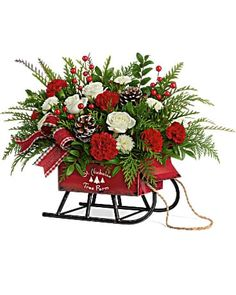 Christmas Flowers Delivery Louisa KY - Farmhouse Memories Christmas Flower Arrangements, Christmas Flowers, Winter Flowers, Christmas Wreaths, Christmas Decorations, Holiday Decor, White Spray Roses, White Roses, Red Carnation