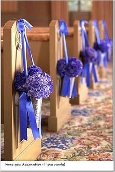 Get great Unique Wedding Pew Decorations to inspire you! Browse Unique Wedding Pew Decorations including a floral wall treatment and a unique dessert table. Purple Wedding Decorations, Purple Wedding Flowers, Ceremony Decorations, Wedding Centerpieces, Church Decorations, Tall Centerpiece, Blue Wedding, Summer Wedding, Wedding Pews