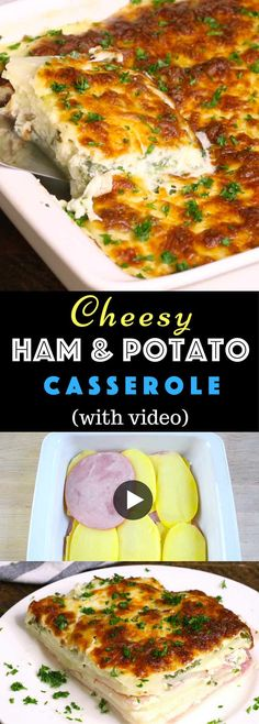 Cheesy Ham and Potato Casserole is a delicious main course dish that fills the house with an amazing aroma. It features a golden crust on top as the cheese browns in the oven. Underneath there are layers of ham, potatoes and swiss cheese with eggs, milk and parsley for gastronomic perfection. Easy Dinner. Video recipe. | Tipbuzz.com