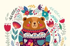 Spring bear and floral bloom by MoleskoStudio on @creativemarket