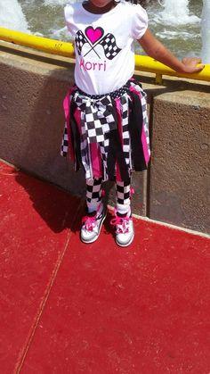 Girls race car outfit- shirt, tu tu & leg warmers