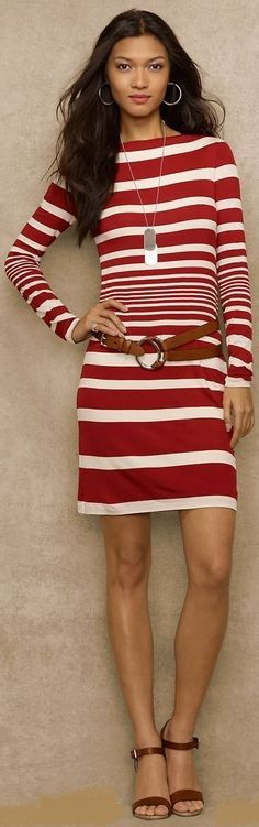 Ralph Lauren red and white striped dress with brown leather belt and shoes Dark Autumn, Zuhair Murad, Ralph Lauren, Nautical Fashion, Marchesa, Striped Dress, Spring Summer Fashion, Short Dresses, Cute Outfits