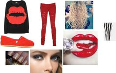 """red"" by lauren-napier ❤ liked on Polyvore"