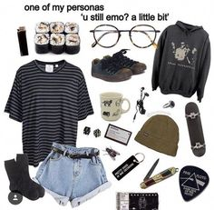 I'm really in love with emo and hippy clothes 😍 Retro Outfits, Grunge Outfits, Grunge Fashion, Vintage Outfits, Casual Outfits, Fashion Outfits, Hipster School Outfits, Pop Punk Fashion, Grunge Clothes