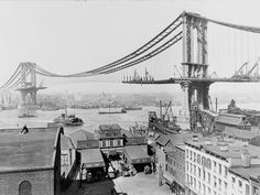 photograph taken by Irving Underhill during the construction of the Manhattan Bridge in 1909,