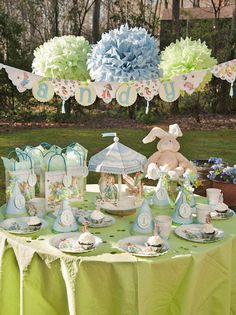 Meri Meri Peter Rabbit Party Supplies, baby shower, Kids Birthday Party Supplies, Make It Mine Parties - Best Sellers Fiesta Baby Shower, Boy Baby Shower Themes, Baby Shower Parties, Baby Boy Shower, Peter Rabbit Party, Peter Rabbit Birthday, Bunny Party, Easter Party, Baby Birthday