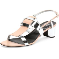 Roger Vivier Pilgrim Jour Metallic City Sandal ($875) ❤ liked on Polyvore featuring shoes, sandals, rosa salmone, leather buckle sandals, leather shoes, roger vivier, leather sandals and metallic leather shoes