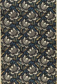 Daffodil (1910-12) textile design by Franz von Zülow - Printed linen. Made by Wiener Werkstätte, Vienna (happybuddhabreathing)