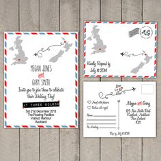 Love is in the air! Travel/Destination Wedding Invitation & RSVP Card set by WeddingPlanningShop, $50.00