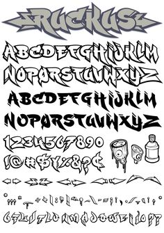 Cool Fonts Alphabet, Graffiti Lettering Alphabet, Tattoo Fonts Alphabet, Graffiti Writing, Graffiti Font, Graffiti Styles, Chicano Tattoos Lettering, Tattoo Lettering Styles, Cool Lettering