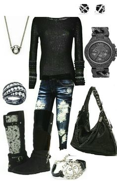Black winter outfit