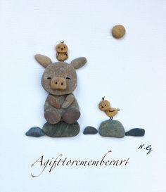 """The little pig and the birdies"" #agifttorememberart #pebbleart #artoftheday #photooftheday #art #etsy #etsyseller #makersgonnamake #roomdecor #instagood #instaphoto #instaart #interiordesign #pig #birds #nature #stones #handmade #animals #cute #craft #australia #adelaide #beach #artist"