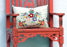 Exquisite accent pillow constructed from repurposed vintage textiles from Hungary!