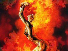 Levanta do fogo e vem curimbar A Madame Satã chegou para girar Crematório ferveu, sepultura rachou Com os cabelos em chamas a mulher Do Forno chegou