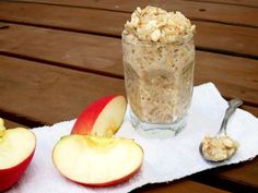 Breakfast: Applesauce overnight oatmeal recipe via Cheap Recipe Blog.  Take 1/2 cup each of rolled oat meal, milk, apple sauce. Mix all ingredients in a sealable jar with 1/2 teaspoon full of cinnamon. Leave over night in the fridge. Can be eaten cold or warmed up
