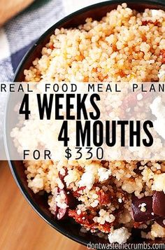 Monthly meal plan on a budget! Four weeks of meals (breakfast, lunch, dinner and dessert) designed to feed the average family of 4 on $350. Get inspiration with easy recipes, clean eating meal ideas! :: DontWastetheCrumbs.com