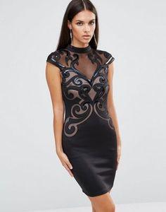 Lipsy Laser Cut Swirl High Neck Dress. ASOS. IDress Wholesale  Retail Party  Vintage Printing O-neck Dresses Mesh Patchwork Bodycon Dress Sexy Clubwear  Black ... 27e6ddaf7860