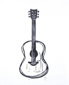 aplaceforart:  acoustic guitar linocut print //more arthere