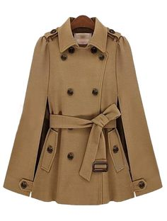 ++ Camel Lapel Split Drawstring Buttons Cape Coat