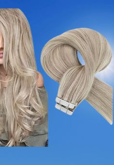 Sunny Hair Extensions Tape in Blonde Platinum Highlights Soft Human Hair Tape in Hair Extensions #goldblondehair #haircare #hair #sunnyhair #hairextension #hairtap Gold Blonde Hair, Ash Blonde, Platinum Blonde, Platinum Highlights, Blonde Highlights, Hair Tape, Tape In Hair Extensions, Sunnies, Beauty