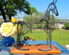 Give this as a gift! Metal Horse Sculpture of Tennessee Walking Horse by Ponyart, $165.00