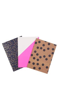 Pack of 3 notebooks A5 matching notebooks, each with a different design on the cover. Staple bound with 60 pages in each notebook. These notepads are perfect for sketches, thoughts, and passing notes.