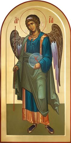 Gabriel Whispers of an Immortalist: Icons of the Holy Angels 1 Byzantine Icons, Byzantine Art, Religious Icons, Religious Art, Paint Icon, Angel Images, Russian Icons, Jesus Art, Saint Michel