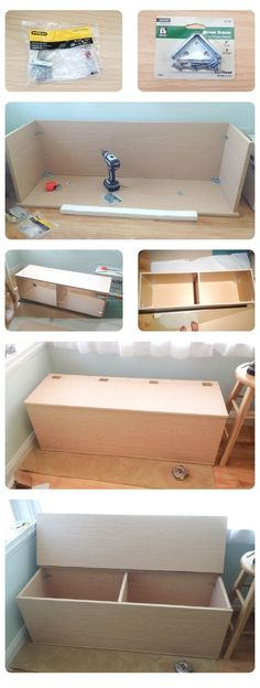 DIY Storage Bench. This could be done with a bookshelf on its back! could even add a cushion to the top and make seating! This would be a great idea for toys and extra blankets for the girls downstairs- easy clean up for company (like we ever have company)!: