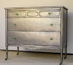 metallic silver refinished furniture.  How to refinish furniture with metallic paint on ehow. I love this look
