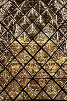 The Louvre at Paris France. Looking through the glass diamonds
