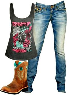 Fox Racing # Country Life # Country Outfit<<I have those boots! Country Girl Outfits, Country Wear, Country Girl Style, Country Fashion, Cowgirl Outfits, Cowgirl Style, Country Girls, Cowgirl Fashion, Cowgirl Clothing