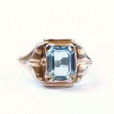 Vintage Clark & Combs Ring  10k Yellow Gold and by #WatchandWares #artdecoring #blueglassring #whitegoldring #sterlingring #clarksandcombs #vogueteam
