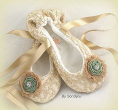 Lace Bridal Flats- Ballerina Slippers in champagne and Sage Green with Embroidered lace, Handmade Flowers and Jewels on Etsy, $115.00