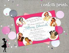 Retro Bridal Shower Invitation  TALK Of The by ConfettiPrintsShop, $12.00
