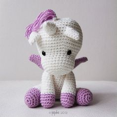 This cute crochet unicorn was requested for my newest granddaughter, only 12 inches tall but soft and cuddly (the unicorn, my granddaughter is 6 months old).