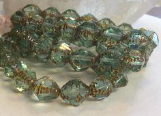Czech Glass Fancy Bicone Bead 10mm x 8mm Light Aqua Picasso 1 Strand by gypsybeadpeddler on Etsy