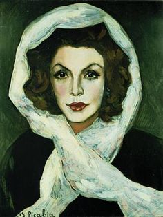 Portrait Einer Schauspielerin, Suzanne Romain by  Francis Picabia (French, 1879–1953) 1943