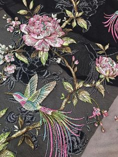 Colorful Embroidery Floral and Bird Lace Fabric ,Ladys Dress Lace Listing for one yard Color: as pic Chinese Embroidery, Tambour Embroidery, Bird Embroidery, Couture Embroidery, Embroidery Suits, Hand Embroidery Patterns, Embroidery Stitches, Machine Embroidery, Motif Floral