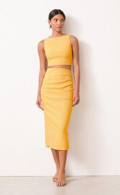 Yellow Pencil Skirt, Pencil Skirt Outfits, Crop Top Outfits, Modest Outfits, Summer Outfits, Skirt And Top Set, Skirt Set, Formal Crop Top, Designer Dress Hire
