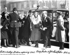 John David Eaton and his mother, Lady Eaton at Eaton's College Street store opening, Toronto, c. Toronto City, Toronto Canada, Eaton College, King City, Canadian History, Vintage Photographs, Alter, Ontario, City Photo