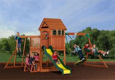 Playground Backyard All Cedar Set Wooden Swing Outdoor Slide Playset Clubhouse #Unbranded