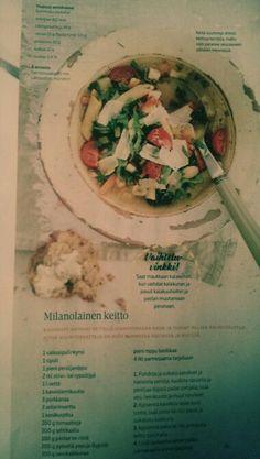Milanolainen keitto Chicken, Food, Eten, Meals, Cubs, Kai, Diet