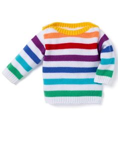 04 Stripe Sweater - Patons Baby Moments 002 - Laughing Hens More Baby Cardigan Knitting Pattern Free, Baby Boy Knitting Patterns, Crochet Baby Dress Pattern, Knitting For Kids, Gents Sweater, Knit Baby Sweaters, How To Purl Knit, Pulls, Couture