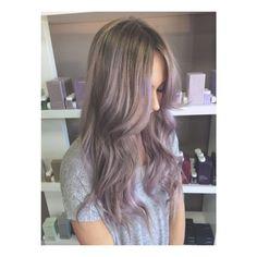 Ash blonde / lavender balayage hair by Sarah Joris at Maria Bikas Salon, London Ont.